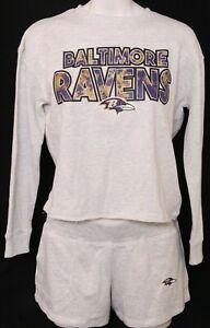 NEW Baltimore Ravens NFL Team Sleepwear Gray Sweatshirt Shorts Pajamas Women M