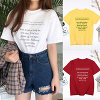 Women Summer Short Sleeve Casual Letter Print O-Neck Tops Loose T Shirts Blouse