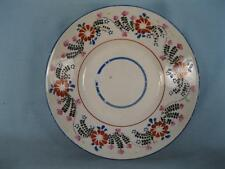 Antique Multicolored Floral Saucer Flowers Leaves Red Pink Green Blue Black (O)
