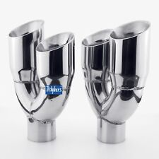 """1 Pair quad staggered dual 3"""" angle cut round exhaust tips 2 1/4"""" inlet"""