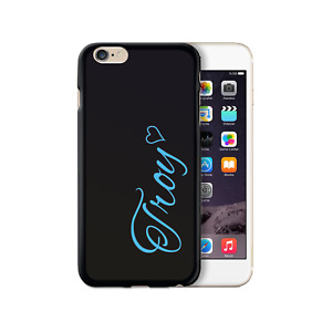 Personalised Initial Phone Case, Blue Heart Name on Black Soft Phone Cover - TPU