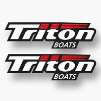 2x TRITON BOATS Vinyl Sticker Decal Logo Fishing Boat Sponsor Fish Bass Boat New