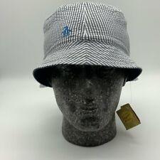 Penguin Reversible Mens Unisex Bucket Festival Hat in blue 7 Blue pinstripe
