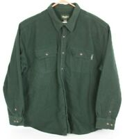 Eddie Bauer Mens 2XL XXL Green Solid Flannel Button Front Shirt Long Sleeve EUC