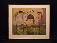 Ernest COURONNEAU(XIX-XX)Grande Aquarelle impressionniste Vue de Venise Venezia