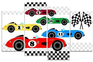 Vintage Racing Cars Grand Prix Chequered Flag - Boys Childrens 4 Panel Canvas