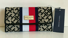 NEW! TOMMY HILFIGER BLACK RED CONTINENTAL CHECKBOOK CLUTCH PURSE WALLET $48 SALE