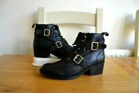 OFFICE LONDON BLACK LEATHER/LEATHER LINED BIKER STYLE ANKLE BOOTS UK 4 EU37