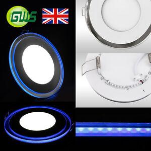 SLIM LED RECESSED CHROME MIRROR BLUE/PURPLE EDGE LIT PANEL LIGHT ROUND/SQUARE