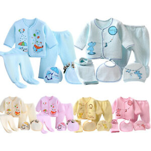 Newborn Caring Gift Warm Baby Boys Girls Infant Cotton Outfit Clothing 5pcs Sets