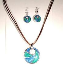 Beach Fashion Jewelry Aloha Hilo Aqua Green Ocean Wave Necklace And Earrings