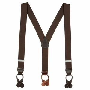 Solid Color Button Suspenders - 1.5 Inch Wide (3 sizes, 17 colors)