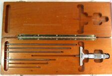 Brown Amp Sharpe Depth Gage Set With Original Wooden Case 5 Piece Set