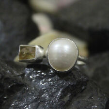 Hammered Handmade Pearl Ring With Citrine 925K Sterling Silver