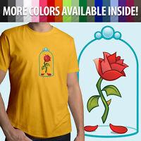 Beauty & the Beast Enchanted Rose Disney Emoji Unisex Mens Tee Crew Neck T-Shirt
