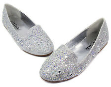 lonita-74k Kids Toddlers Youth Blink Flat Party Wedding Girl's Shoes Silver 13