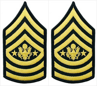 2 Pair Army Sergeant Major of the Army E-9 Rank Insignia Chevron Patches - Male