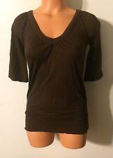 •• Women's Size XS Mudd Blouse V Neck Shirt Banded Waist SS Top Nice!
