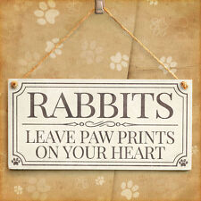 Rabbits Leave Paw Prints On Your Heart - Lovely Vintage Style Rabbit Gift Sign