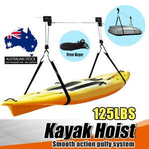 Kayak Hoist Pulley System Ceiling Bike Lift Garage Storage Rack 125LBS Capacity