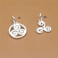 5 Sterling Silver Shiny Triskelion Charms for 925 Silver Bracelet Necklace