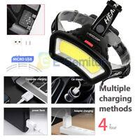 50000LM COB LED Headlamp Headlight Torch USB Rechargeable Flashlight Work Light