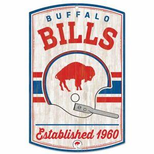 "BUFFALO BILLS CLASSIC RETRO LOGO EST. 1960 WOOD SIGN 11""X17'' NEW WINCRAFT 👀"