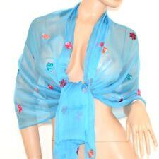 ÉTOLE femme bleu maxi foulard echarpe voilé fleur brodé effet soie scarf 106H