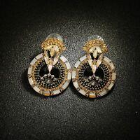 Ohrringe Golden Groß Ring Oval Kunst Deko Barock Vintage Stil AA7
