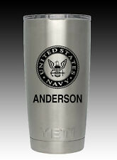 Yeti Rambler 20 oz cup tumbler engraved  US Navy United States Custom