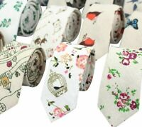 Fashion Casual Polyester Linen Skinny Cartoon Print Neck Tie For Adult Men Women