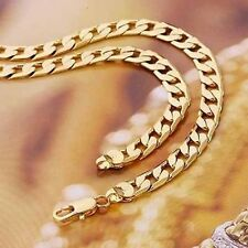 Mens 24k Gold Filled cuban link chain Necklace hip hop jewelry long necklaces