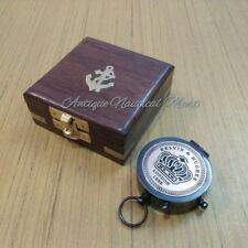 Antique Brass Pocket Compass With Wooden Box