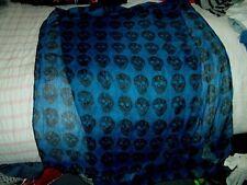 """Blue Black Skull Scarf Shawl 24"""" x 74"""" lightweight, rock, rockabilly, punk vgc"""