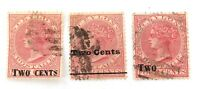 .CEYLON c1880s 3 VARIETIES 2c OVERPRINT on 4c QV USED HINGED STAMPS.
