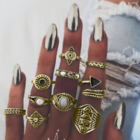 10pcs/set Vintage Women Gold/Silver Knuckle Ring Finger Rings Midi Boho Jewelry