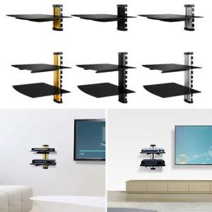 Single/Dual Glass Shelf Wall Mount Under TV Cable Box Component DVD DVR Bracket