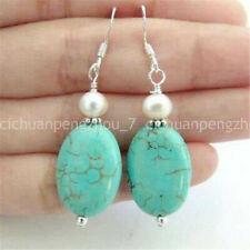 Pearl Dangle 925 Silver Hook Earring Vintage Rock Old Blue Turquoise White Shell