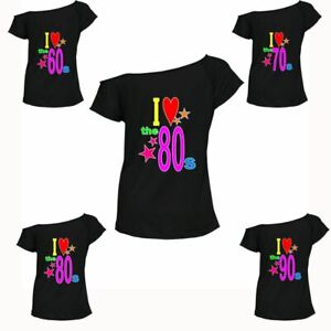 Ladies I Love The 80s 70s 60s 90s T Shirt Pop Star Womens Retro Hen Party Top