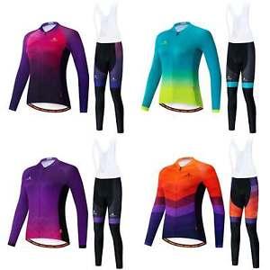 Miloto Ladies Cycling Clothes Womens Long Sleeve Cycle Top Bib Tights Padded Kit