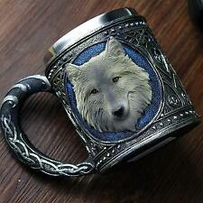Wolf Drinking Mug Resin Stainless Steel Lining Retro 3D Wolf Pattern Wine Cup