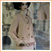 GEVER ORIGINALS Beverly Hills women's SUIT wool blend ECRU dots color SIZE 12