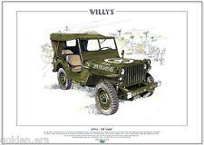 Willys Mb Jeep de' - Fine Art Print-tamaño A3-Wwii American vehículo militar estadounidense