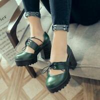 Lolita Womens Pumps Shoes Mary Janes Brogue Platform High Chunky Heels Retro Hot
