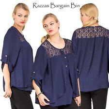 New Ladies Stunning Blue Layered Top Plus Size 16/1XL (9734)JW
