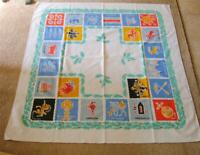 "Vintage Cotton Printed Tablecloth Flags of Regions of Sweden Heraldic 50"" x 47"""