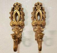 Pair Of 2003 Home Interior Fleur De Lis Gold Tone Wall Sconces Candle Holders