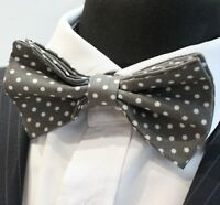 Bow Tie.UK Made. Dark Grey / White Polka Dot. Cotton. Premium Quality Pre-Tied.