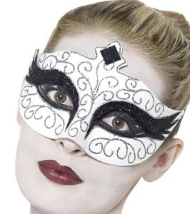 Masquerade Ball Face Mask Fancy Dress Gothic Swan Facemask White by Smiffys New
