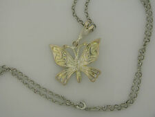 necklace no stone unsigned Mexico Sterling silver Butterfly Pendant with Chain